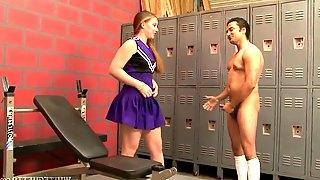 Nasty cheerleader Emily Eve is having dirty sex in the locker room