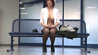 Redheat college girl flashes in public