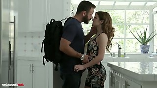 Stunning young housewife Rosalyn Sphinx is fucked in the kitchen