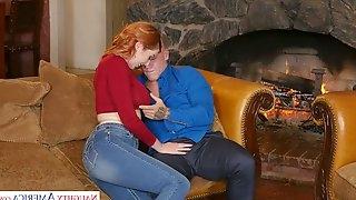 Jaw dropping red head Lauren Phillips seduces husband of her best girlfriend