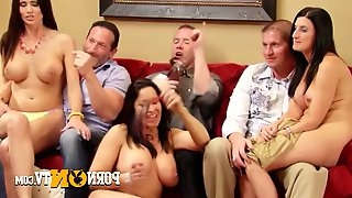 Pool party with swingers ends fucking each other at the red room in the big orgy just for fun
