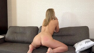 Fit irritant blondie Drika drops her clothes round finger her wet pussy