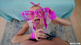 Teen in communistic glasses Chloe Temple is fucked indestructible apart from brutal bald head person
