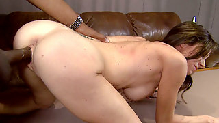 Sexy busty brunette whore with milk skin rides huge BBC and fucks doggystyle.