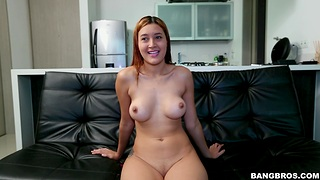Natural tits cutie Kta takes off her clothes and sucks a dick