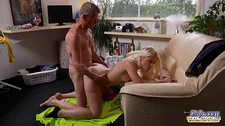 Slutty step grand daughter doesn't mind is superannuated man will fuck her messy pussy